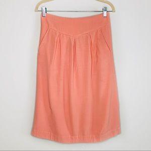 Fossil Vintage Pink Pleated A Line Pocket Skirt